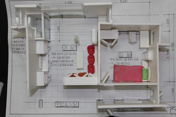 Unit 계획 - 거실과 침실에 대한 가구배치 및 모델링 작업-2
