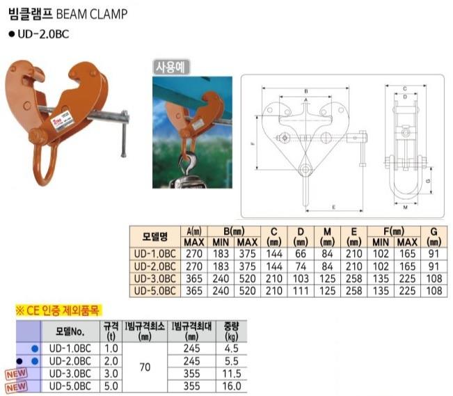 빔클램프 UD-3.0BC (3.0T) UDT호이스트 제조업체의 하역공구/클램프 가격비교 및 판매정보 소개