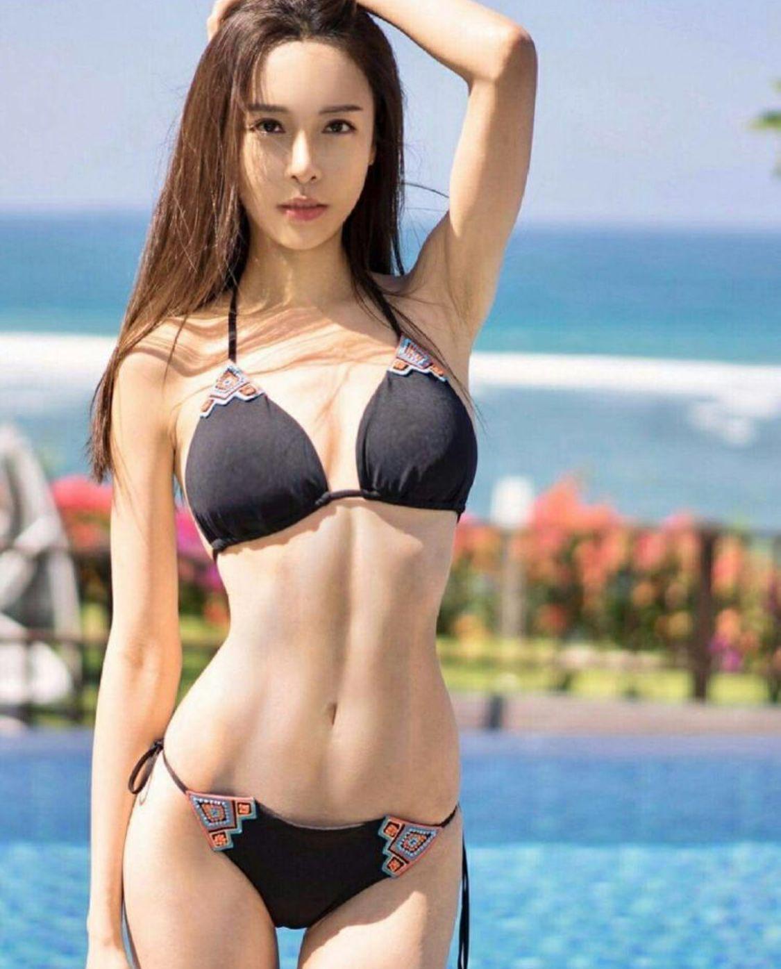 cool curvy woman in bikini