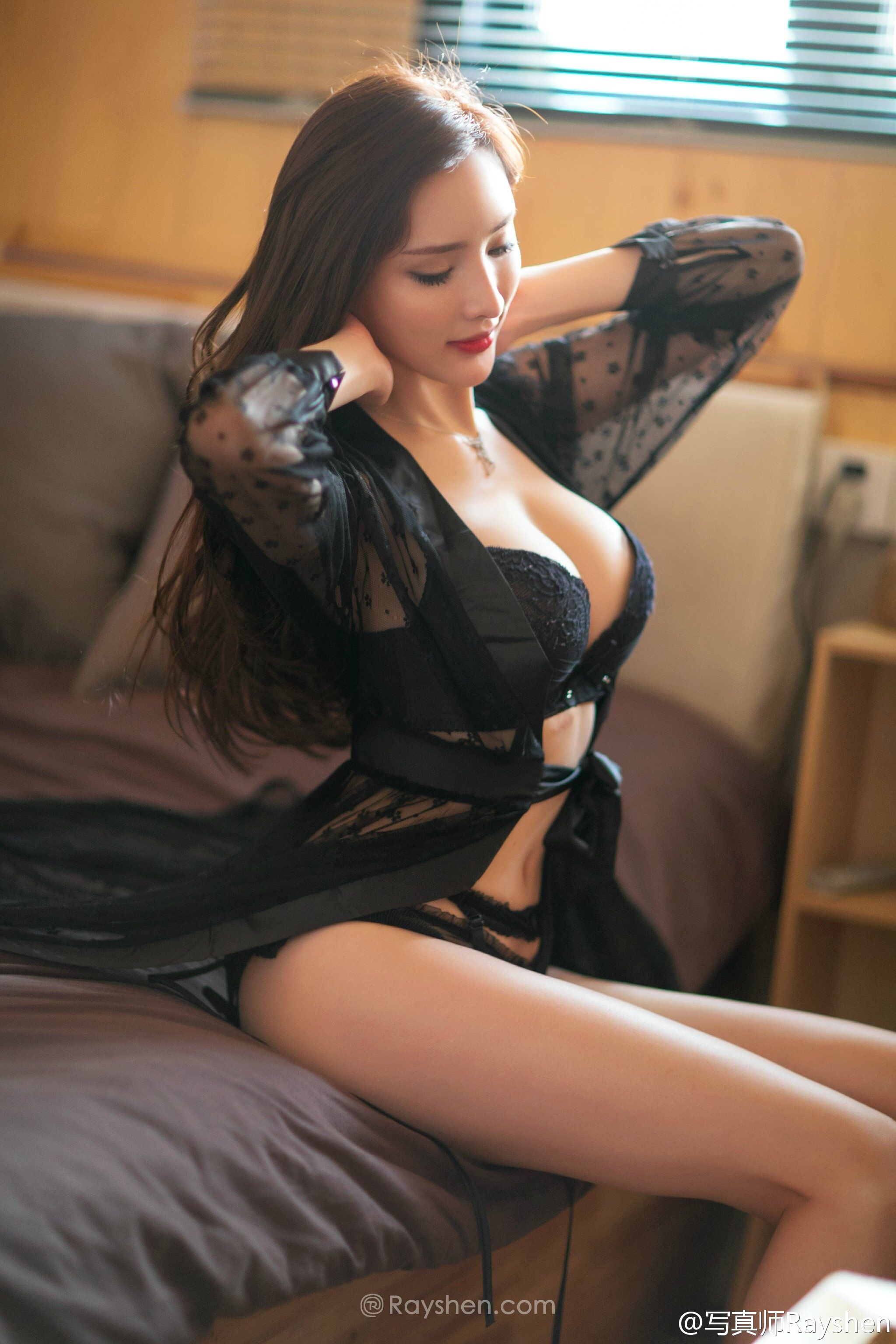 cool Chinese glamour in see through lingerie