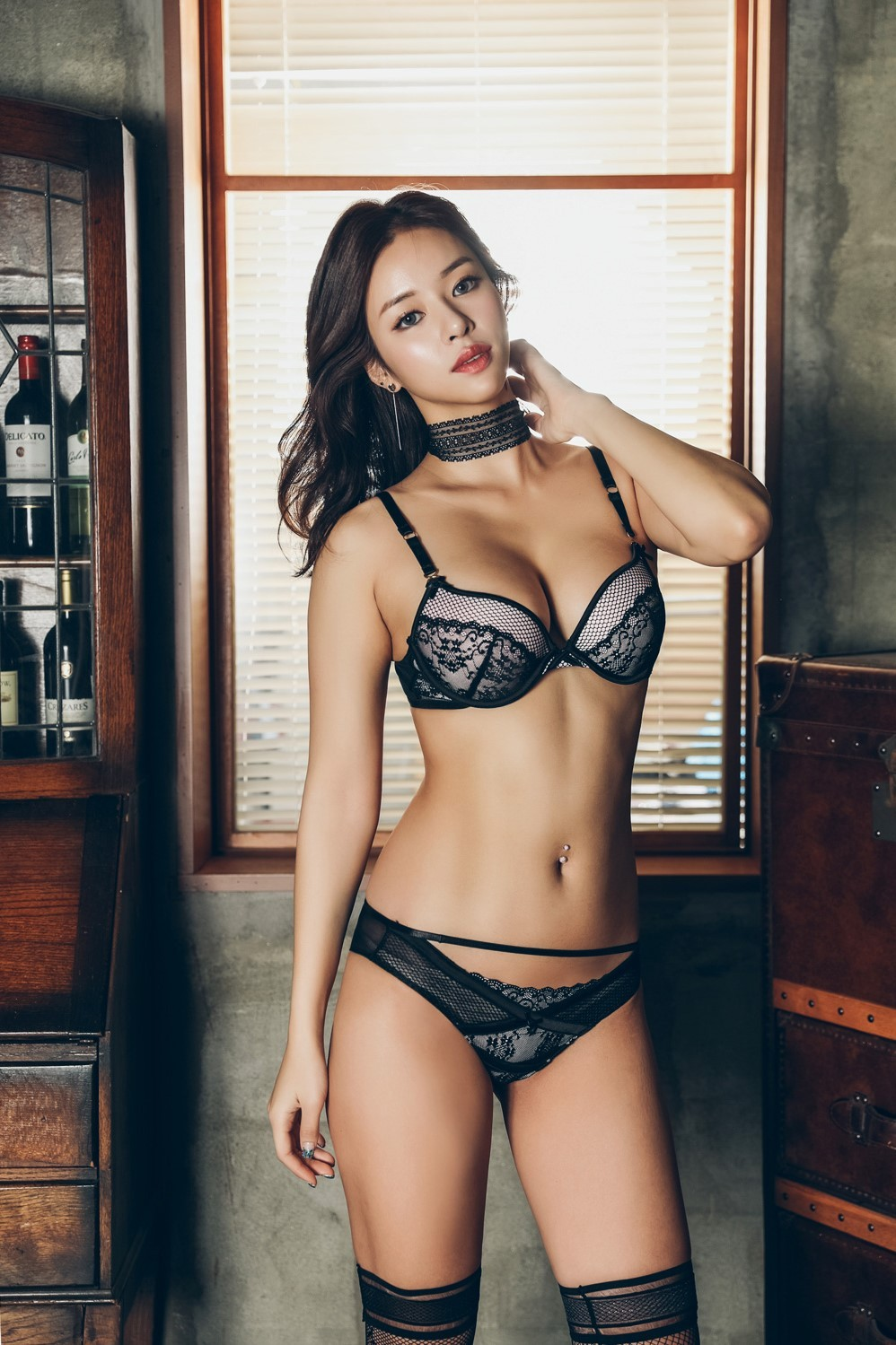 beautiful Korean girl in lingerie